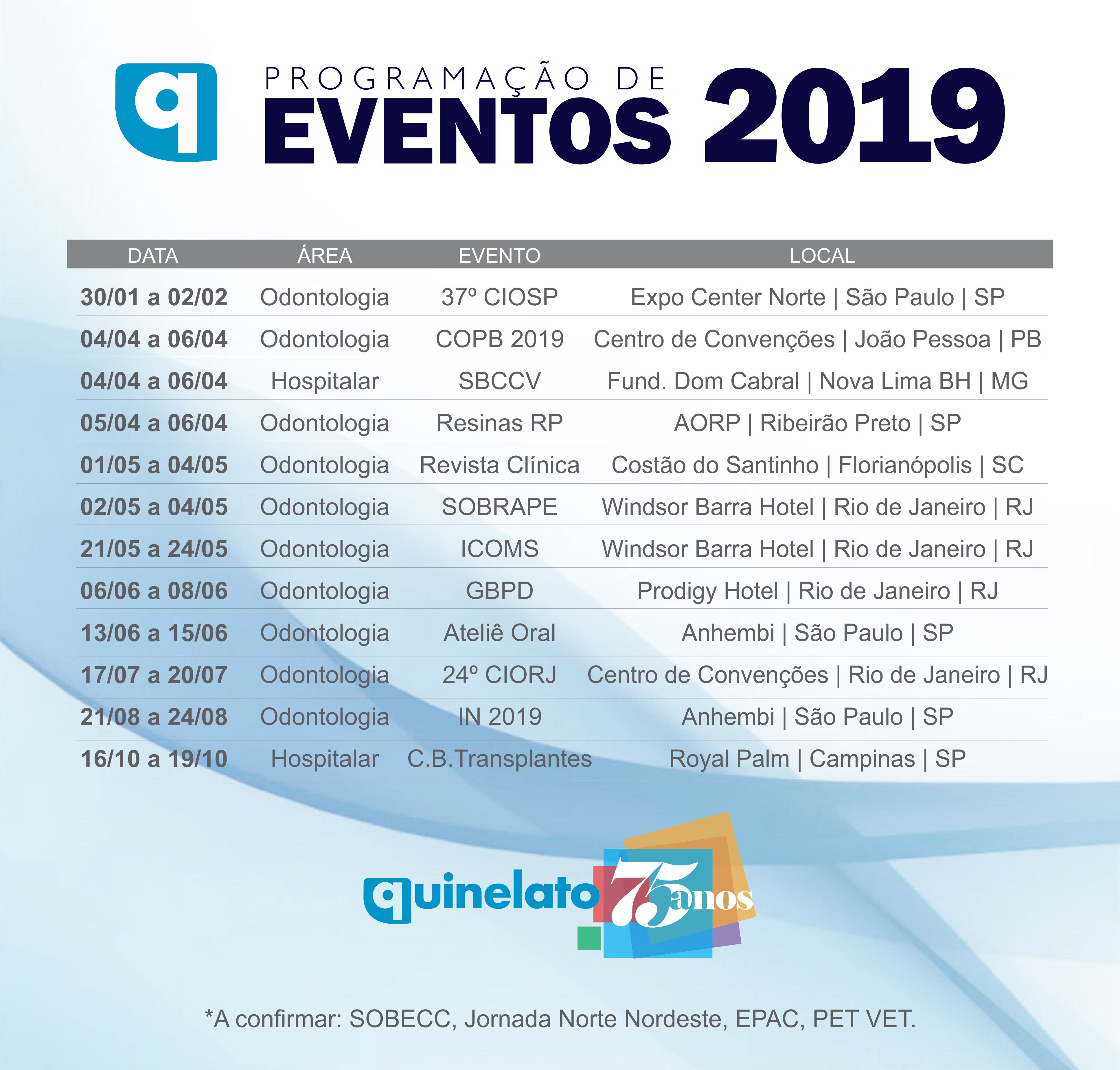 EVENTOS - PROGRAMACAO 2019
